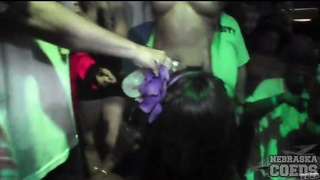 wonderful women dance topless at a party