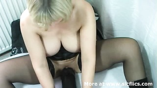 big-chested blond fledgling  milf needs a spacious shadowy fake penis  to spread her cavernous twat