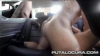hookup in the backseat with a tattooed latina dame