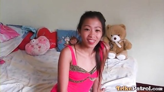 From on her knees the asian deep-throats his cock