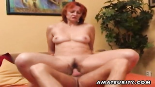 A naughty redhead amateur mummy  homemade hardcore action with a youthfull  fellow tedious! deep thr