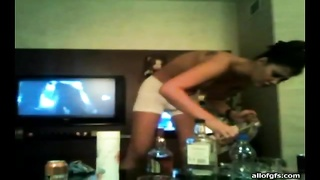 adorable  pigtailed lesbo teen gets drilled by a strapon