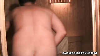 A blondie inexperienced wife masturbates, deepthroats and ravages with cum in mouth in a sauna tires