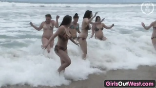 damsels  Out West - nasty lesbian orgy at the beach