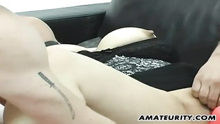 Busty amateur Milf anal threesome with facial