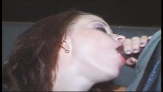 defective white whore wraps her attractive lips around a large sad penis