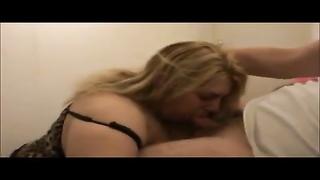 Super fat blonde sucks on a dick