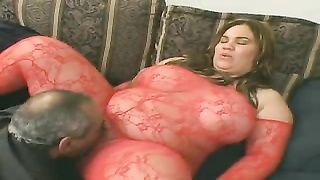 Horny BBW in fishnets fucked in a threesome