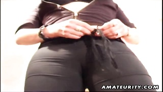 A steamy big-titted inexperienced housewife homemade toying her hairless twat and butt with sextoys