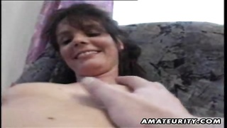 222278A nasty mature amateur housewife gets her shaved pussy fingered and fucks with a cumshot on her hot