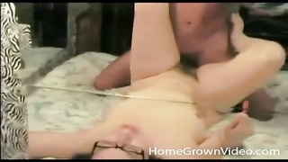 Cute GF in glasses on her back getting fucked