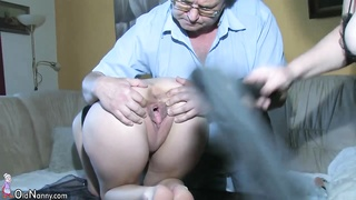 229033OldNanny splendid youthful woman playing with ancient boy  and down