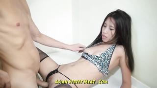 Bobbing assfuck chinese Slapper In Blue Leopard Skin