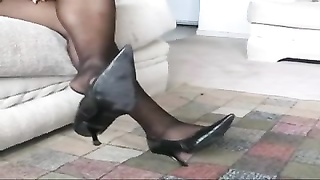 Ebony Teen Pantyhose Shoeplay