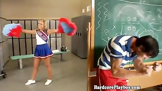 Flexible cheerleader teen in lockerroom