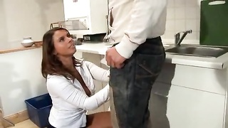 Busty housewife nailed in her kitchen