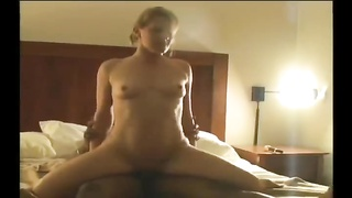 Husband films his wife taking interracial cuckold creampie