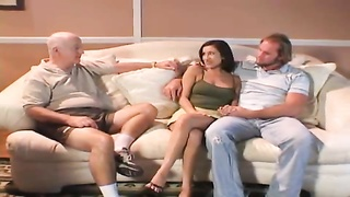 Two men fuck his wife as he watches