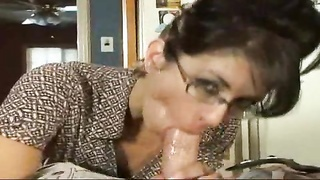 Housewife in glasses determined to get laid