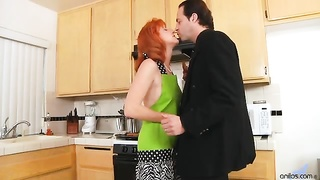 Natural redhead housewife Sasha Brand gets her hairy firecrotch pussy coated in a layer of gooey jiz