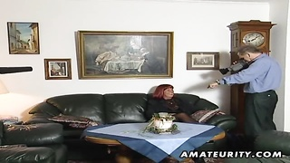 239660A nasty redhead amateur mature housewife homemade hardcore blowjob with cumshot on her tits !