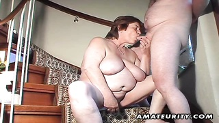 A chubby amateur mature wife homemade hardcore action with pussy toying, blowjob and doggystyle with