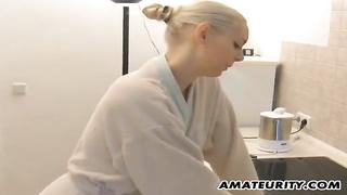 Amateur girlfriend sucks and fucks in the kitchen