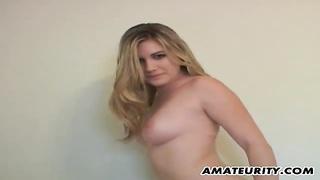 Busty amateur girlfriend handjob with cumshot