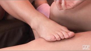 Beauty paints girlfriend toenails in fetish movie