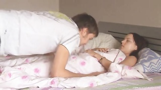 Horny guy licking his sleeping girlfriend than deeply anal banged