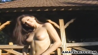 A very hot brunette amateur girlfriend homemade outdoor hardcore action with blowjob and fuck, endin