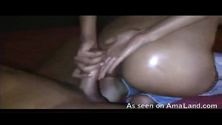 Lubed ass girlfriend takes big cock in asshole