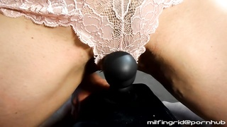 MILF Rides Vibe & Squirts Through Lace Panties, Very Wet & Messy!
