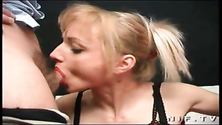 Big boobed french blonde sodomized in threesome