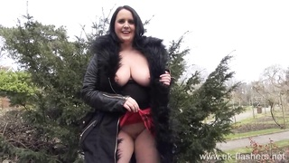 Busty amateur milf Sarah Janes flashing and public masturbation of naughty
