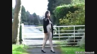 Girlfriends public flashing and amateur voyeur exposing herself outdoors