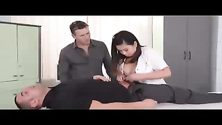 Busty asian nurse double penetrated