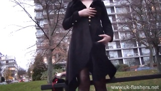 Blonde amateur babe Amber West flashing and outdoor masturbation of naughty