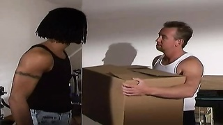 cute asian schoolgirl doubled fucked by movers!!