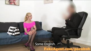 FakeAgent Sexy waitress showcases off her pounding talents in trying-out