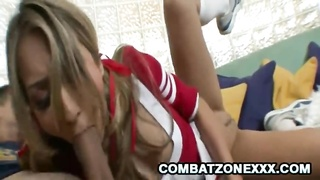 Horny Cheerleader Natalia Rossi slap a hard dick at her face