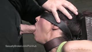 Amazing MILF Syren de Mer Face Fucked in Bondage with 2 cocks
