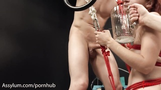 Skinny redhead gets hard anal and filthy ATM from evil doctor and orderly