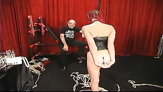 256581Slut with long braided hair get her tush beaten red by old master