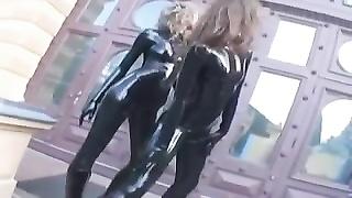 2 hot girls in black latex