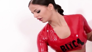 Bitch in red latex & red high heels