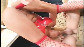 Blonde masturbates with dildo while sucking cock