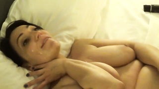Beautiful wife takes load like a champ as Hubby films.