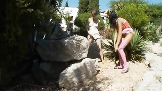 2 czechian gals peeing get pleasure from a men