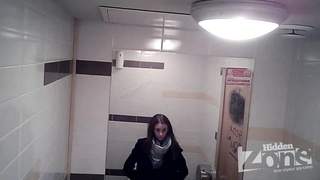 Girls go pee in a public wc 54